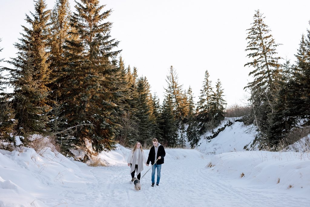 A couple walking in the snow with their dog.
