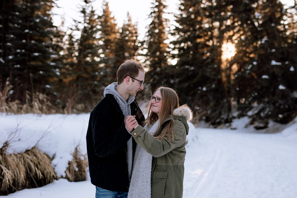 A winter engagement photo.